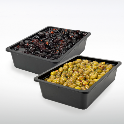 Baked Black Olives and Seasoned Green Olives Make Italy